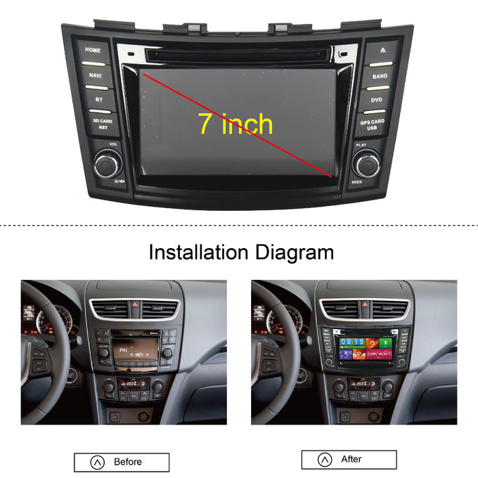 3G radiotrasmettono il lettore DVD dell'automobile di RDS SUZUKI SWIFT, stereotipia a 7 pollici dell'automobile del touch screen con il gioco del video di IPod